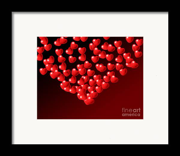 Wallpaper Framed Print featuring the digital art Fountain Of Love Hearts by Kiril Stanchev