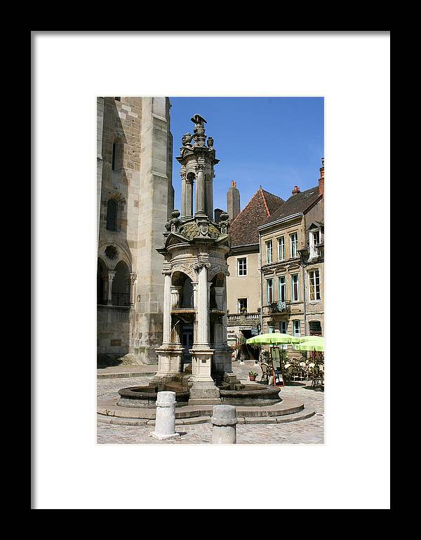 Autun Framed Print featuring the photograph Fountain On The Market Place Autun by Christiane Schulze Art And Photography