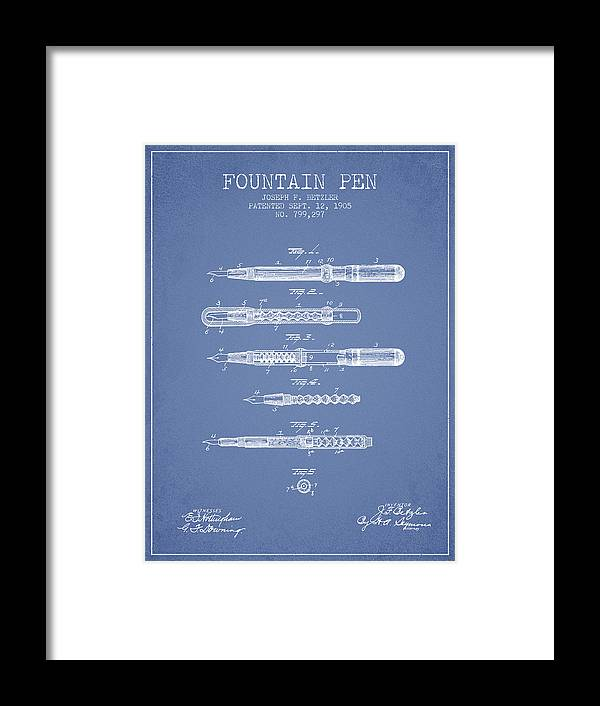 Pen Framed Print featuring the drawing Fountain Pen Patent From 1905 - Light Blue by Aged Pixel