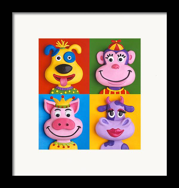 Animal Framed Print featuring the painting Four Animal Faces by Amy Vangsgard