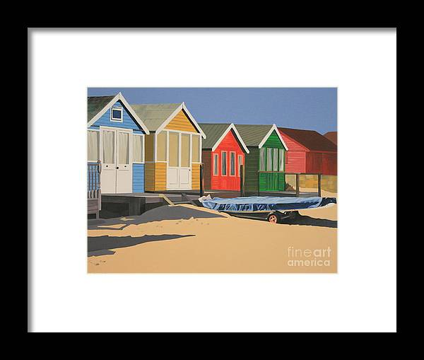 Beach Huts Framed Print featuring the painting Four Beach Huts by Linda Monk