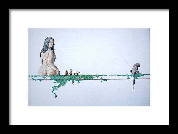 Female Figure Framed Print featuring the painting Four Bitten Fruit by A Robert Malcom