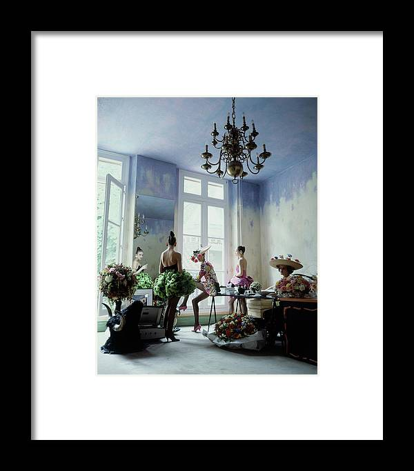 Fashion Framed Print featuring the photograph Four Models Inside Christian Lacroix's Studio by Arthur Elgort