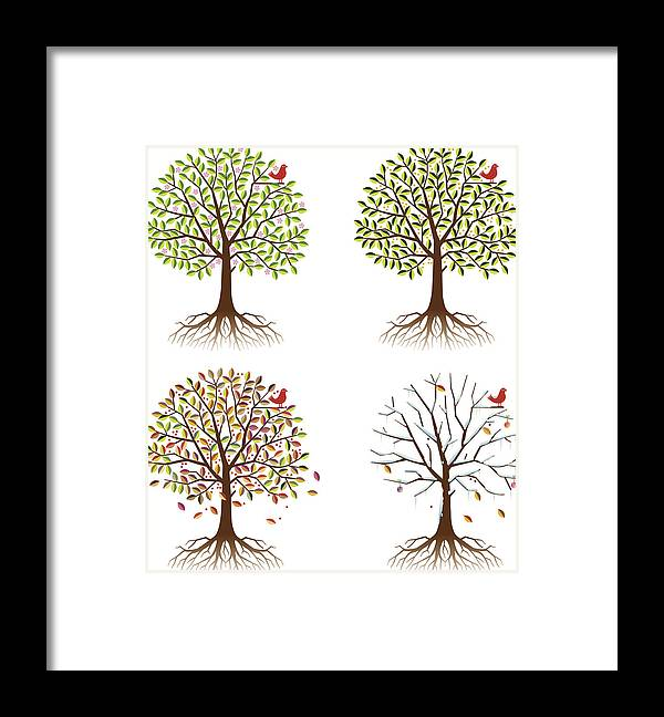 Environmental Conservation Framed Print featuring the digital art Four Seasons In One Tree by Johnwoodcock