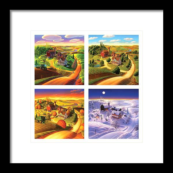 Four Seasons Framed Print featuring the painting Four Seasons On The Farm Squared by Robin Moline