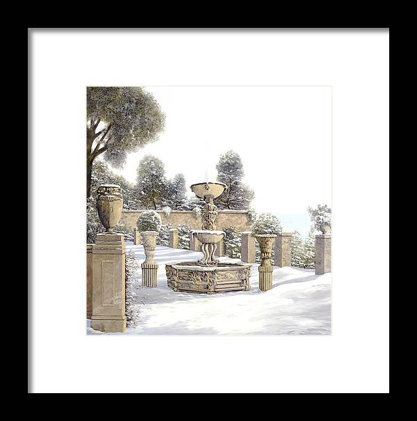 4 Seasons Framed Print featuring the painting four seasons-winter on lake Como by Guido Borelli