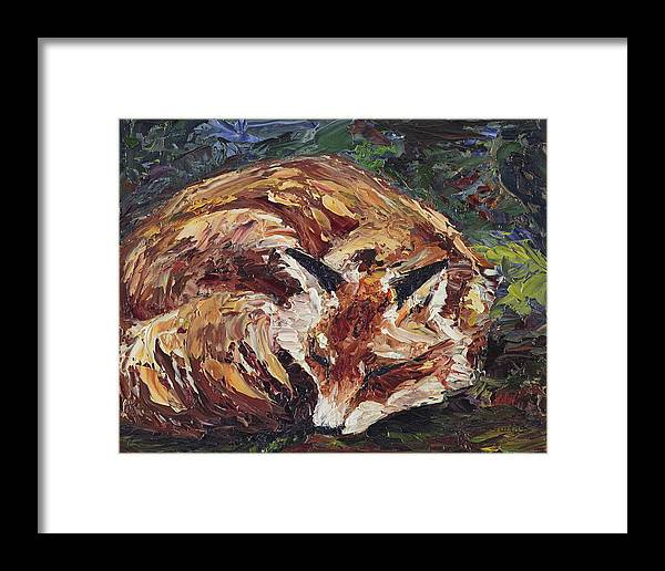 Fox Framed Print featuring the painting Fox Asleep by Dale Bernard