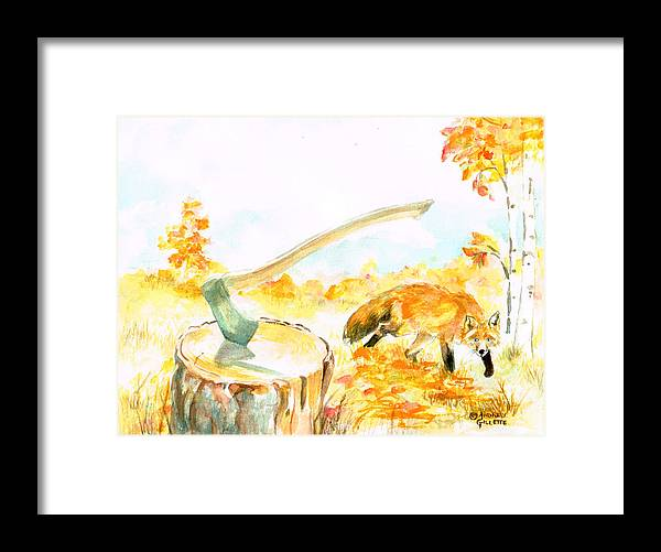 Fox Framed Print featuring the painting Fox in Autumn by Andrew Gillette