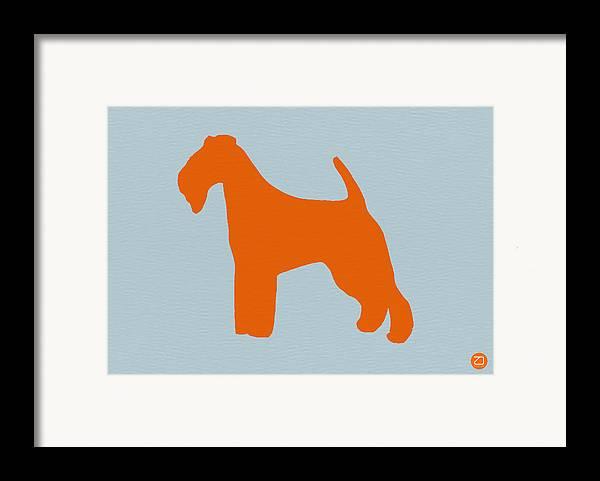 Fox Terrier Framed Print featuring the digital art Fox Terrier Orange by Naxart Studio