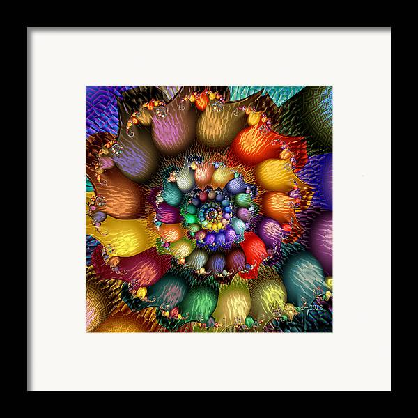Abstract Framed Print featuring the digital art Fractal Textured Spiral by Peggi Wolfe