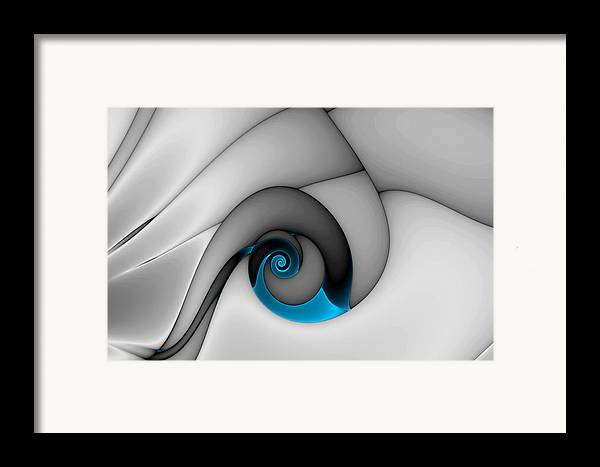 Abstract Framed Print featuring the digital art Fractures Curl Blue by Mark Eggleston