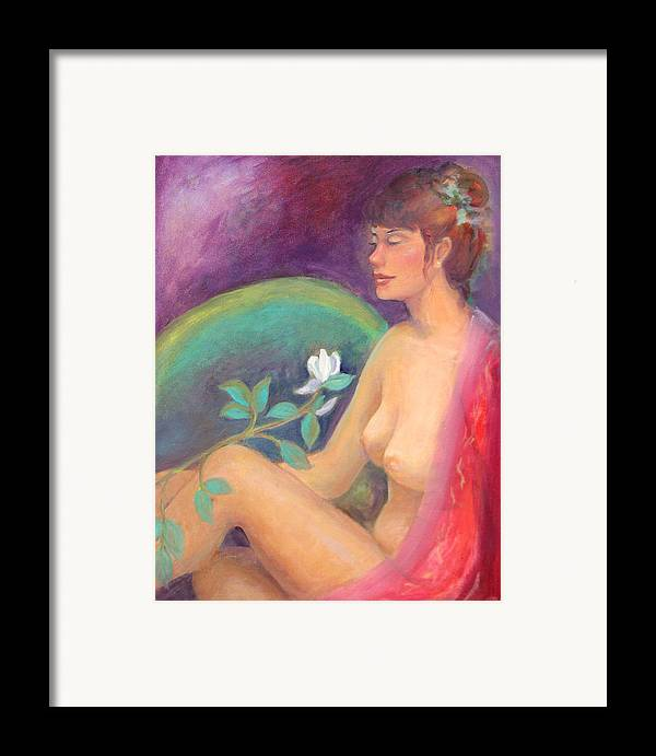 Figure Pose Framed Print featuring the painting Fragrance Of A Dream by Gwen Carroll