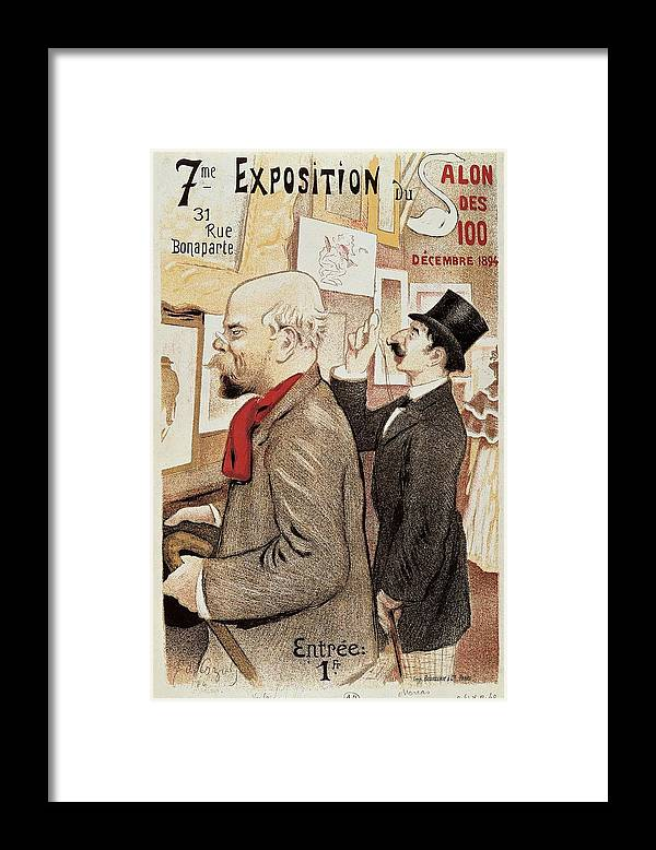 Literature; French; Europe; France; Moreas Jean; Verlaine Paul; Profile; Vintage Framed Print featuring the drawing France Paris Poster Of Paul Verlaine And Jean Moreas by Anonymous