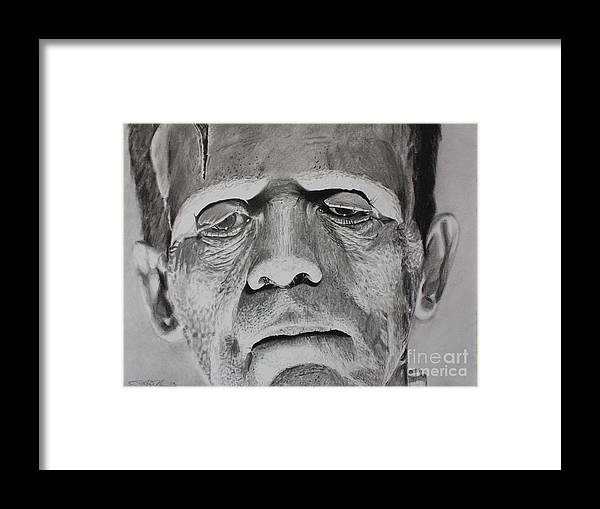 Frankenstein Framed Print featuring the drawing Frank by Joshua Navarra