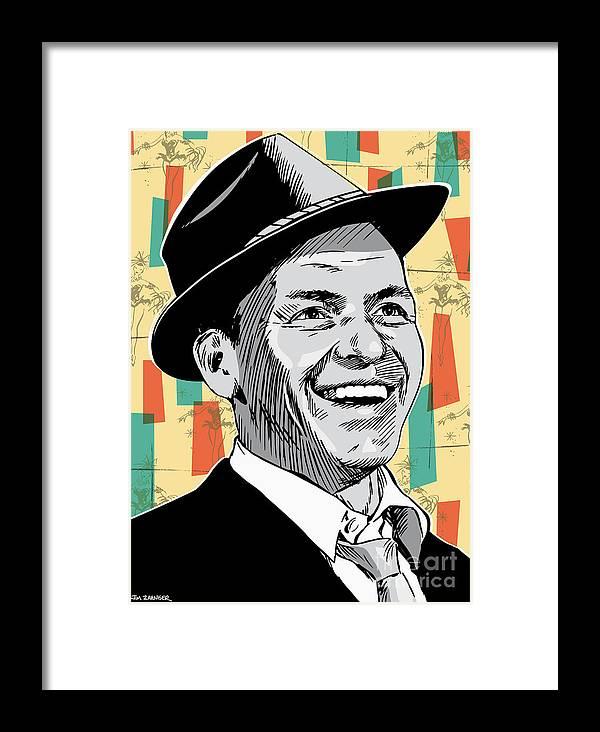 Music Framed Print featuring the digital art Frank Sinatra Pop Art by Jim Zahniser