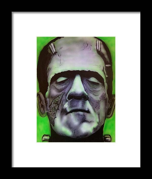 Frankenstien Framed Print featuring the painting Frankie 2 by Daniel Robertson
