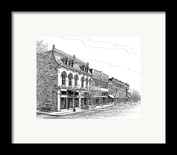 Pen And Ink Drawing Framed Print featuring the drawing Franklin Main Street by Janet King