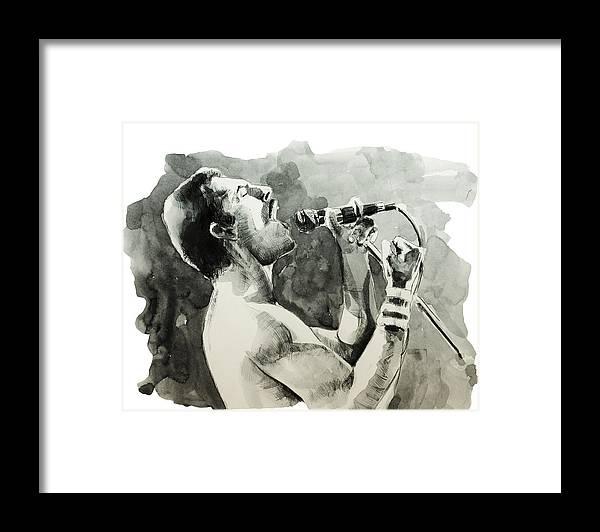 Freddie Mercury Framed Print featuring the painting Freddie Mercury 8 by Bekim M