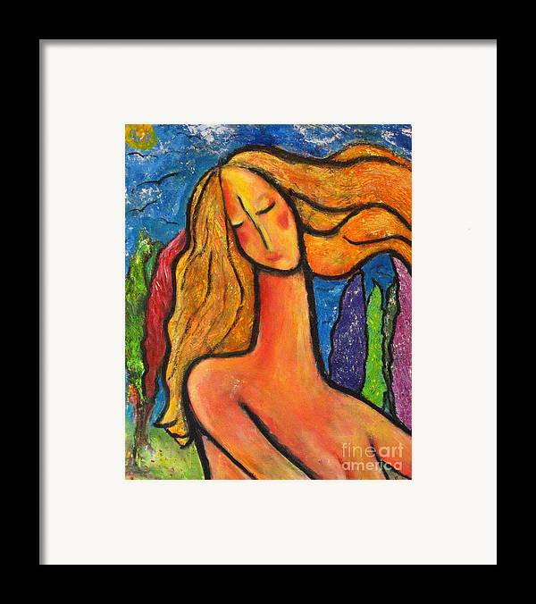 Woman Framed Print featuring the painting Freedom by Chaline Ouellet