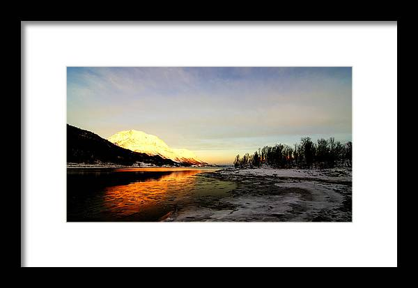 Sea Framed Print featuring the pastel Freezing Cold by Tom Vooght