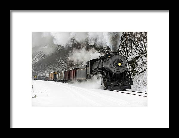 Scenics Framed Print featuring the photograph Freight Train With Steam Locomotive by Catnap72