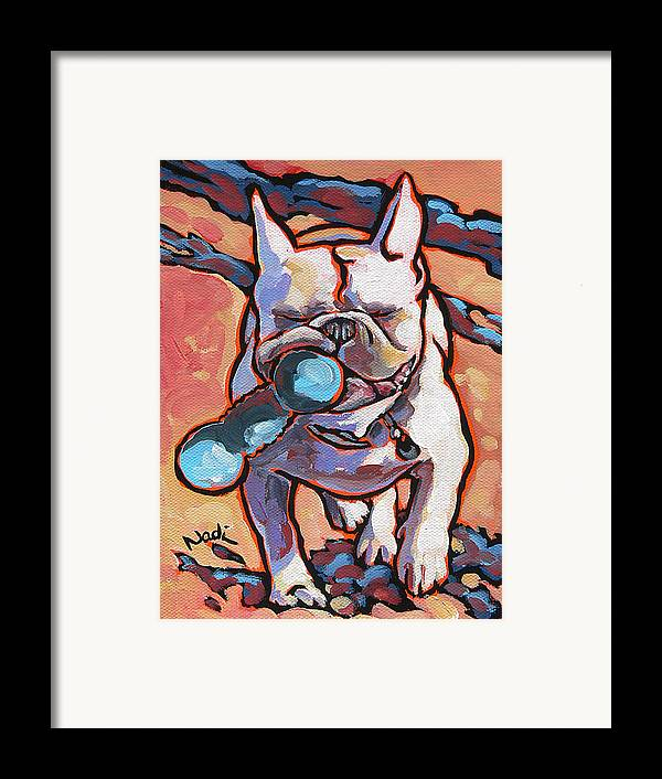 French Bulldog Framed Print featuring the painting French Bulldog And Toy by Nadi Spencer