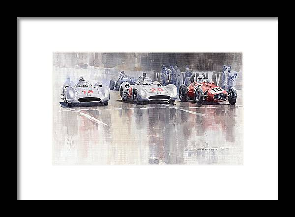 Watercolour Framed Print featuring the painting French GP 1954 MB W 196 Meserati 250 F by Yuriy Shevchuk