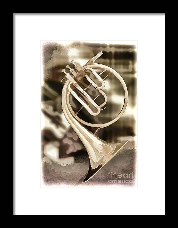 French Horn Framed Print featuring the painting French Horn Antique Classic Painting In Color 3428.02 by M K Miller