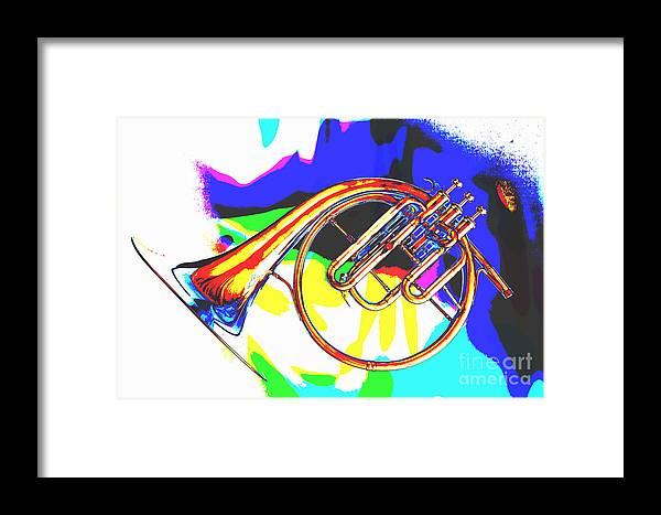 French Horn Framed Print featuring the painting French Horn Painting Antique Classic In Color 3426.02 by M K Miller