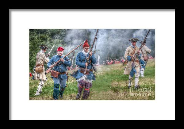 Framed Print featuring the digital art French Soldiers Battle Fury Fort Ligonier by Randy Steele