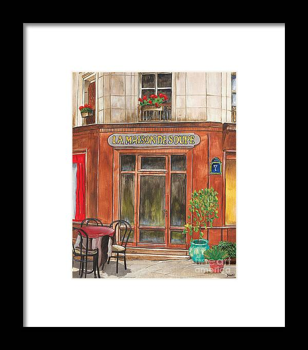 Restaurant Framed Print featuring the painting French Storefront 1 by Debbie DeWitt