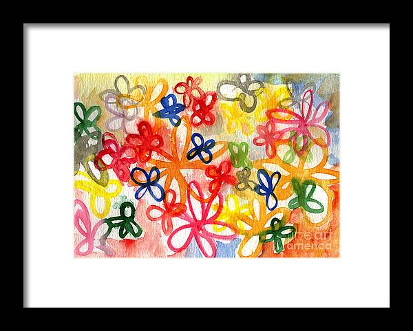 Flowers Framed Print featuring the painting Fresh Flowers by Linda Woods