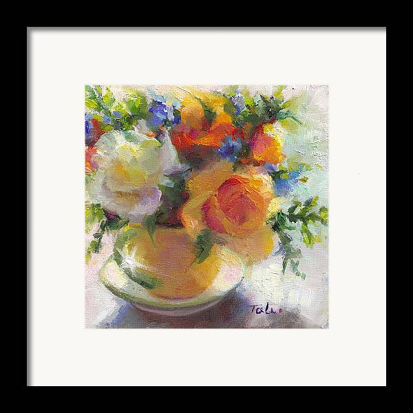 Roses Framed Print featuring the painting Fresh - Roses In Teacup by Talya Johnson