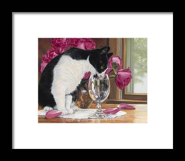 Cat Framed Print featuring the painting Fresh Water by Lucie Bilodeau