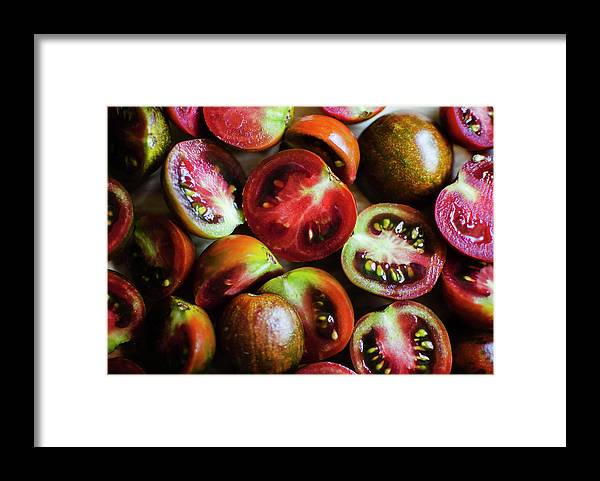 Tranquility Framed Print featuring the photograph Freshly Cut Tomatoes by Jamie Grill