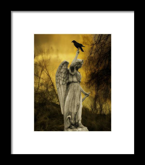 Crow On Stone Angel Framed Print featuring the photograph Friend Of An Angel by Gothicrow Images