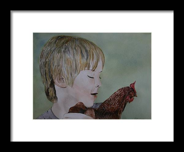 Chicken Framed Print featuring the painting Friendly Chicken by Betty-Anne McDonald