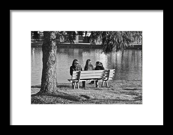 Friends Framed Print featuring the photograph Friends In Black And White by Frozen in Time Fine Art Photography