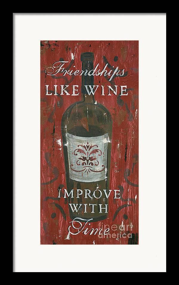 Wine Framed Print featuring the painting Friendships Like Wine by Debbie DeWitt