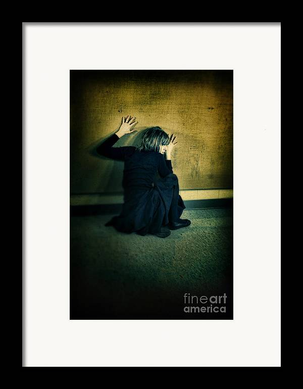 Woman Framed Print featuring the photograph Frightened Woman by Jill Battaglia