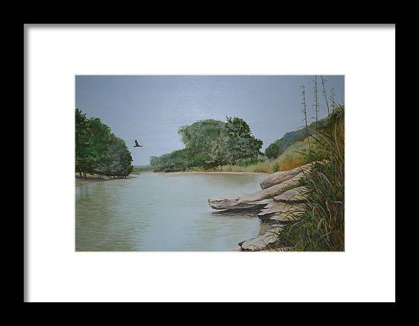 Texas Landscape Framed Print featuring the painting Frio River Solitude by Karen Butcher