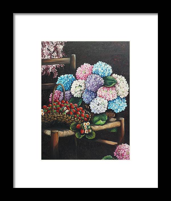 Hydrangea Paintings Floral Paintings Botanical Paintings Flower Paintings Blooms Hydrangeas Strawberries Paintings Red Paintings Basket Paintings Pink Paintings Garden Paintings  Blue Paintings  Greeting Card Paintings Canvas Paintings Poster Print Paintings  Framed Print featuring the painting From My Garden by Karin Dawn Kelshall- Best