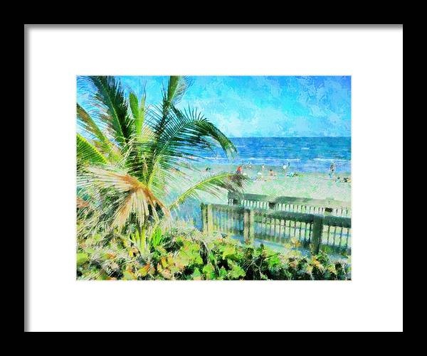 Beach Framed Print featuring the mixed media From The Boardwalk by Florene Welebny