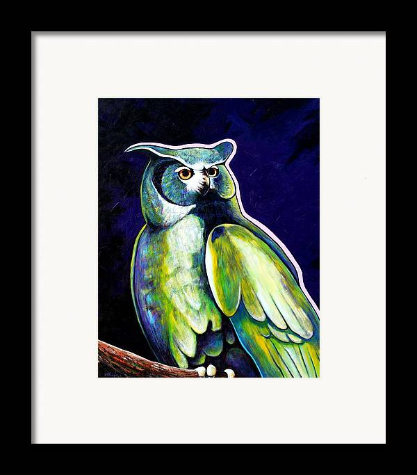 Owl Framed Print featuring the painting From The Shadows by Joe Triano