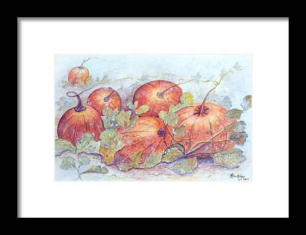 Pumpkin Patch Framed Print featuring the painting Frost on the Pumpkin by Ben Kiger