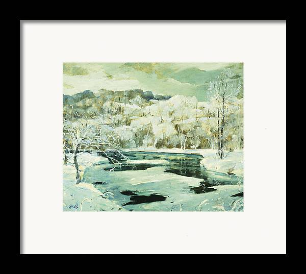 American Framed Print featuring the painting Frosted Trees by Jonas Lie