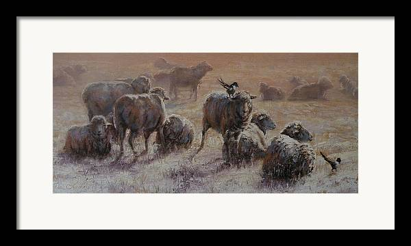 Sheep Framed Print featuring the painting Frosty Morning by Mia DeLode