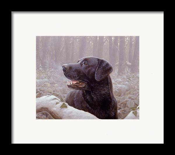 Lab Framed Print featuring the painting Frozen Breath by John Silver