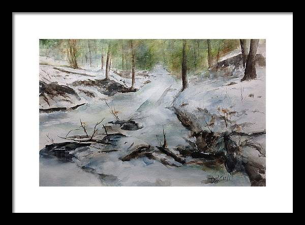 Landscape Framed Print featuring the painting Frozen Creek by Don Cull