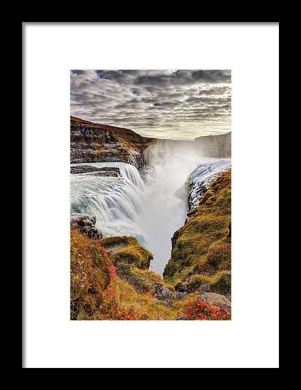 Scenics Framed Print featuring the photograph Frozen Mist On Autumn Day At Gullfoss by Anna Gorin